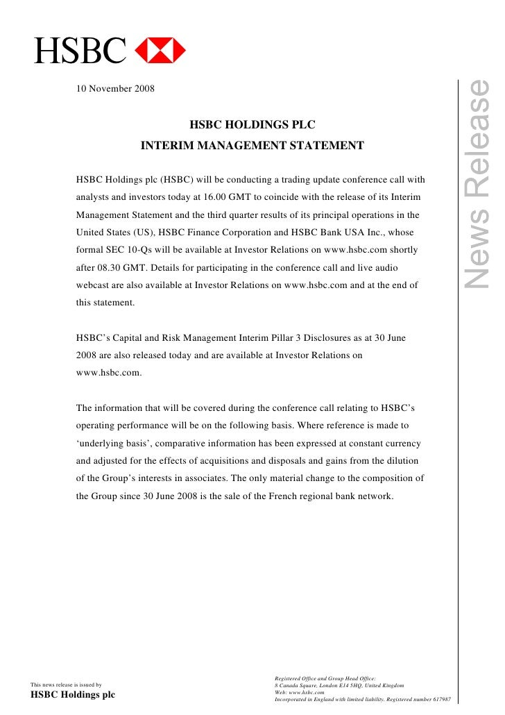 critically analyze the hsbc statement by