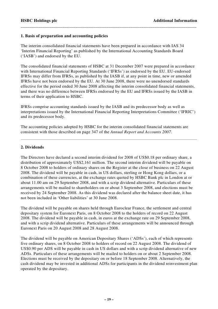 HSBC 2008 Interim Results media Release