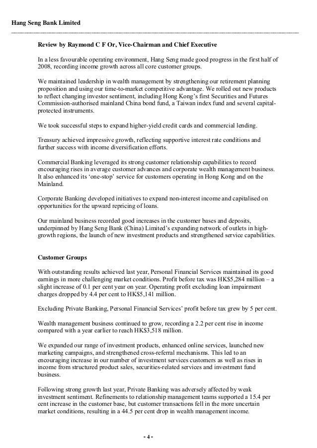 HSBC Front cover of Media Release Hang Seng Bank Limited 2008 Inte…