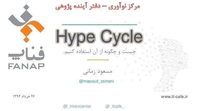 1 Hype Cycle کنیم استفاده آن از چگونه و چیست. زمانی مسعود 26خرداد1394 www.it-cafe.ir @masoud_zamani @_...