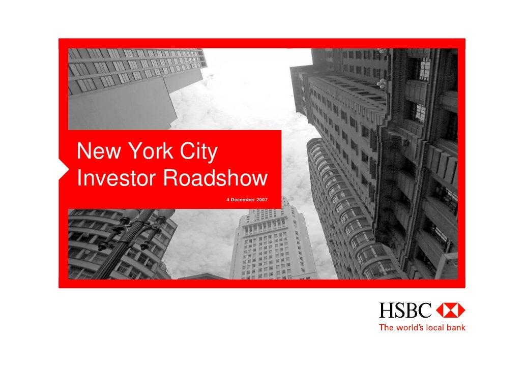 New York City Investor Roadshow              4 December 2007