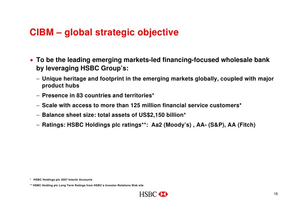 objectives of hsbc Goal setting: how to define your organizational objectives august 22, 2013 - 9 minute read - posted by wendy pat fong there is an increasing number of companies.