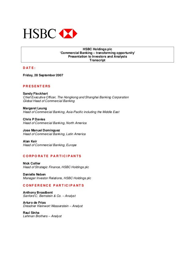 HSBC Commercial Banking - Transforming Opportunity