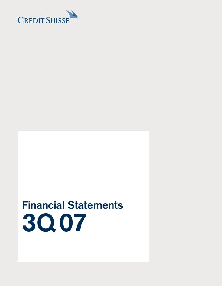 Financial Statements  3Q 07