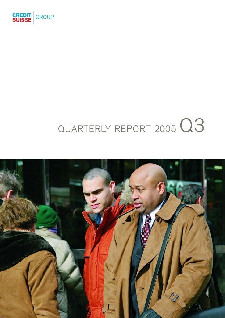 Q3 QUARTERLY REPORT 2005