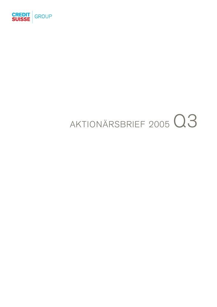 Q3 AKTIONÄRSBRIEF 2005
