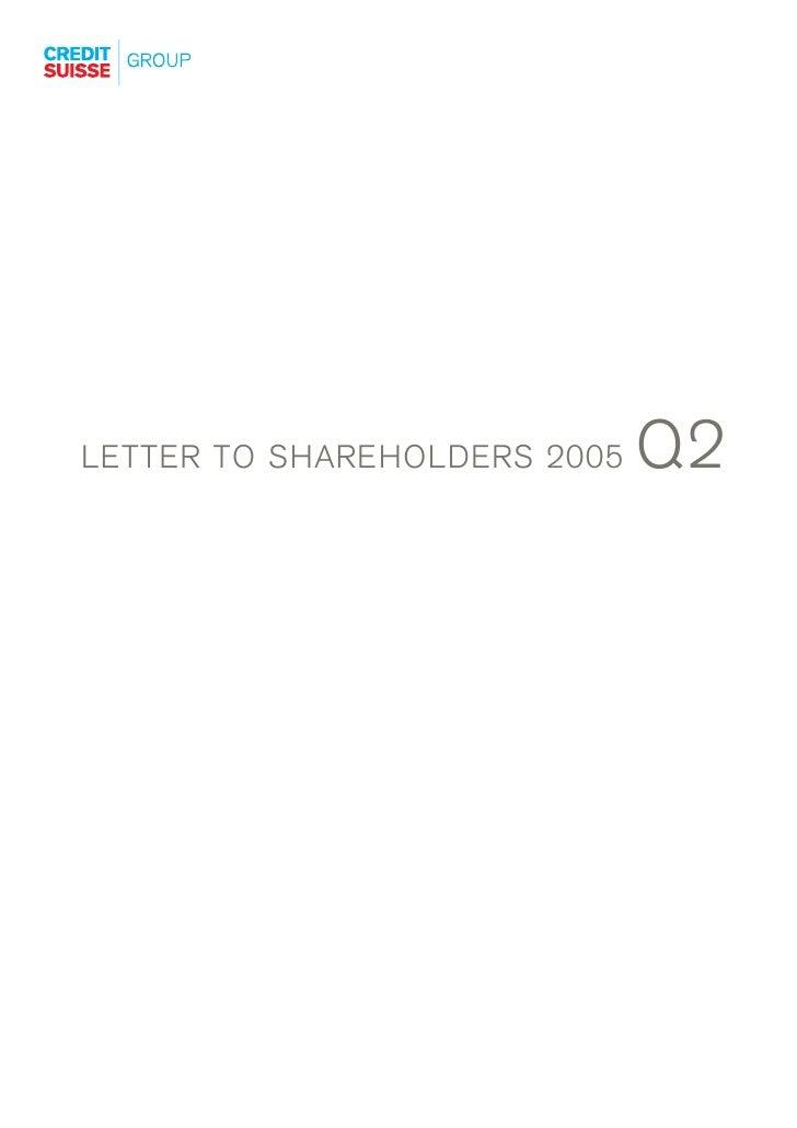 Q2 LETTER TO SHAREHOLDERS 2005