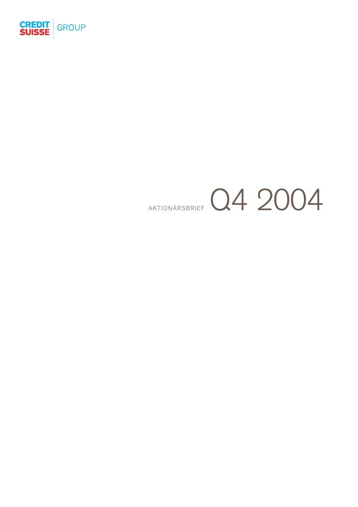 Q4 2004 AKTIONÄRSBRIEF