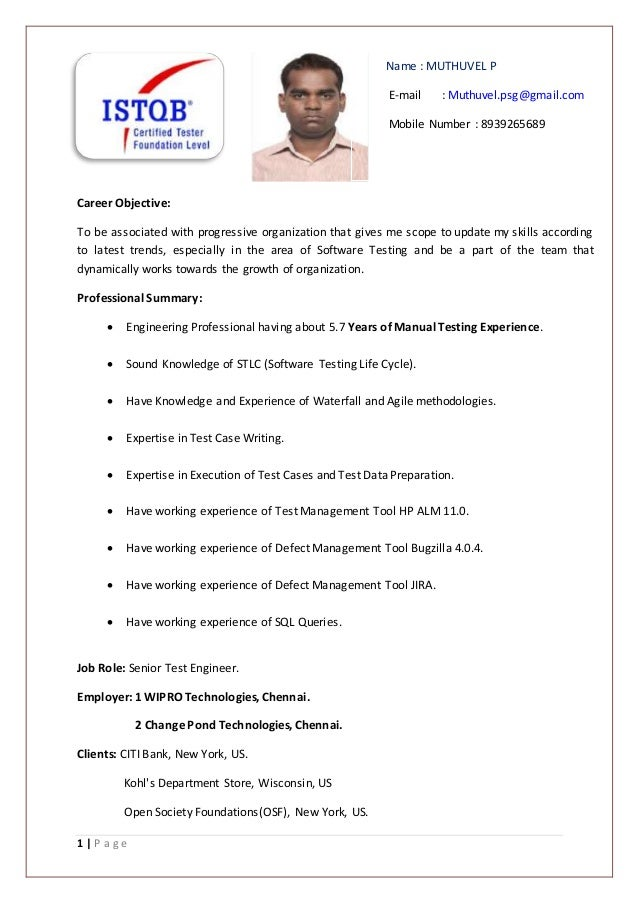 muthu senior test engineer resume