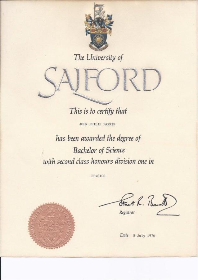 of SalfordBSc Physics 21 Hons