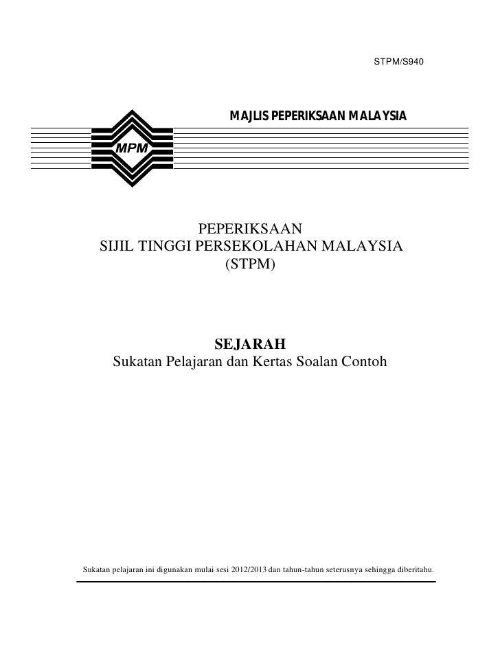 STPM/S940                                         MAJLIS PEPERIKSAAN MALAYSIA                 PEPERIKSAAN    SIJIL TINGGI ...