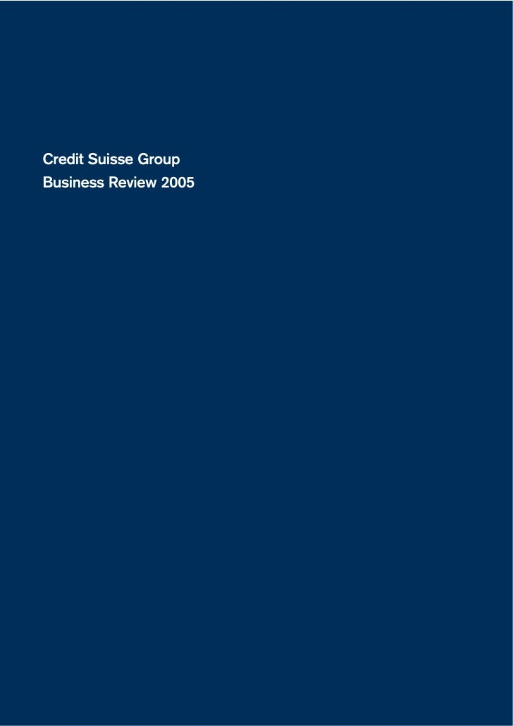Credit Suisse Group Business Review 2005