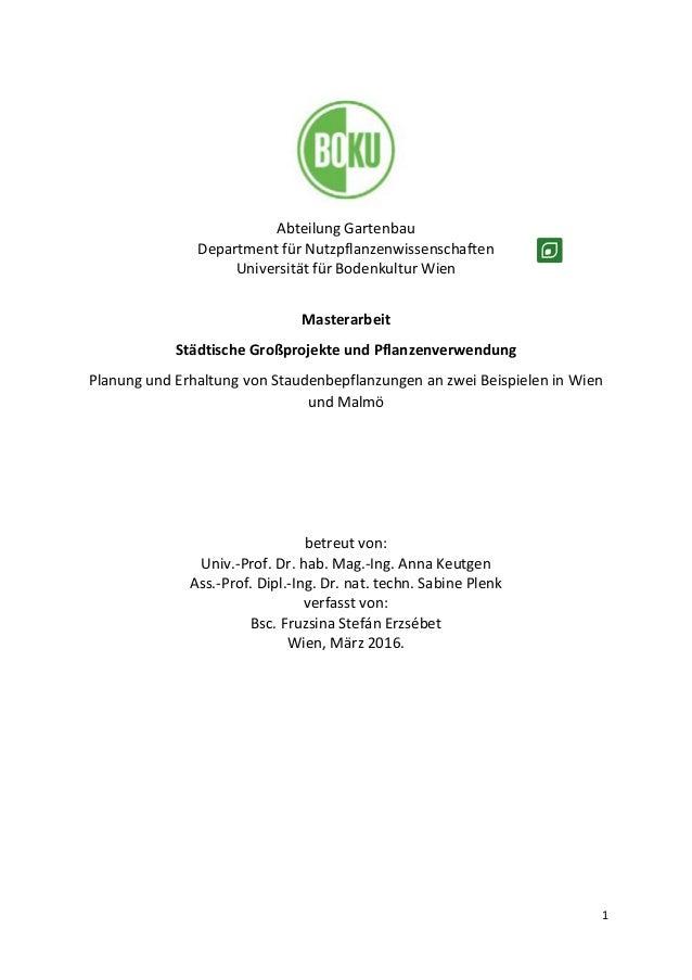 1 Abteilung Gartenbau Department für Nutzpflanzenwissenschaften Universität für Bodenkultur Wien Masterarbeit Städtische G...