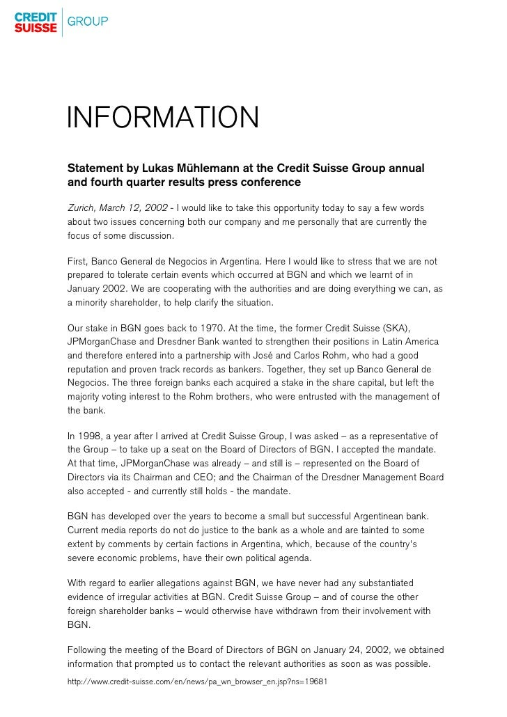 INFORMATION Statement by Lukas Mühlemann at the Credit Suisse Group annual and fourth quarter results press conference  Zu...