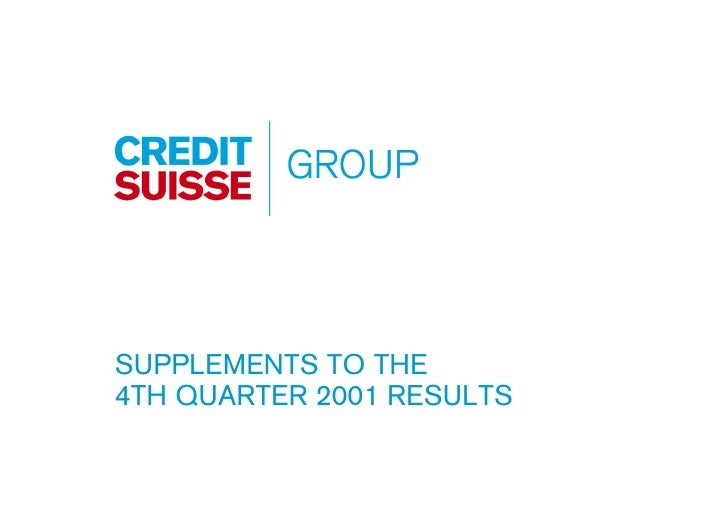SUPPLEMENTS TO THE 4TH QUARTER 2001 RESULTS