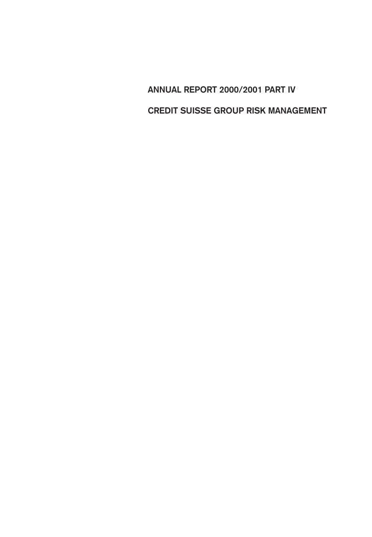 ANNUAL REPORT 2000/2001 PART IV  CREDIT SUISSE GROUP RISK MANAGEMENT