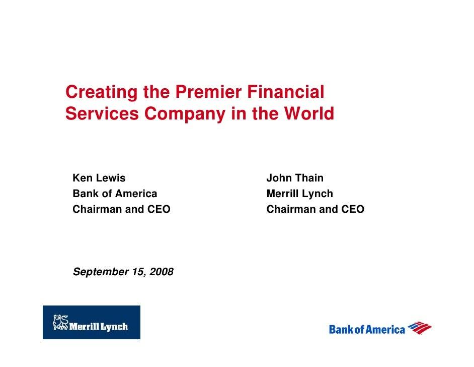 Bank Of America Corporation Acquires Merrill Lynch Co Inc Presen