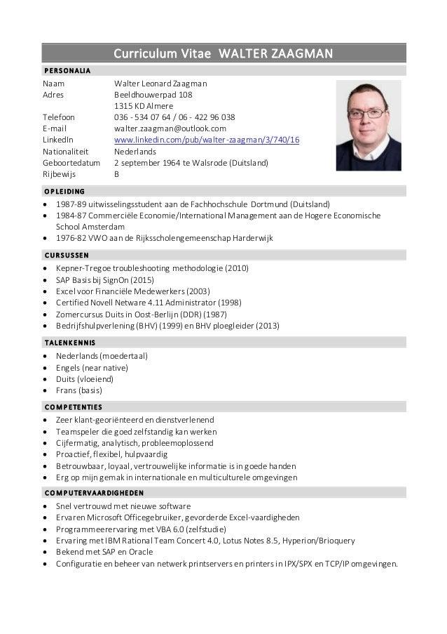 CV W Zaagman Nederlands