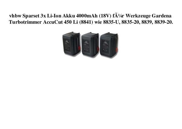 vhbw Sparset 3x Li-Ion Akku 4000mAh (18V) für Werkzeuge Gardena Turbotrimmer AccuCut 450 Li (8841) wie 8835-U, 8835-20, 88...