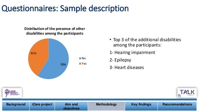 • Top 3 of the additional disabilities among the participants: 1- Hearing impairment 2- Epilepsy 3- Heart diseases 59% 41%...