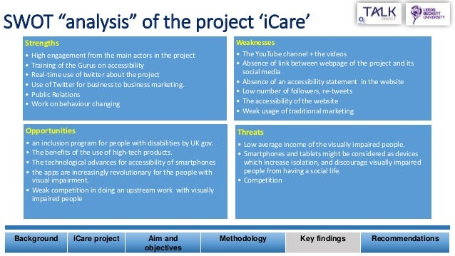"""SWOT """"analysis"""" of the project 'iCare' Strengths • High engagement from the main actors in the project • Training of the G..."""