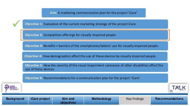  Background iCare project Aim and objectives Methodology Key findings Recommendations Aim: A marketing communication plan...