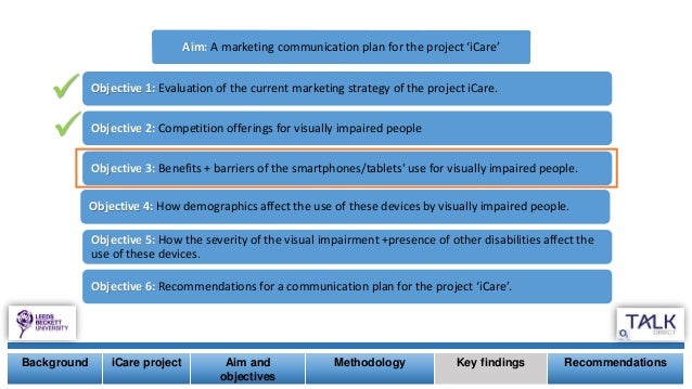   Background iCare project Aim and objectives Methodology Key findings Recommendations Aim: A marketing communication pl...