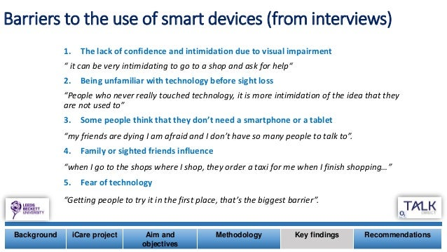 Barriers to the use of smart devices (from interviews) 1. The lack of confidence and intimidation due to visual impairment...