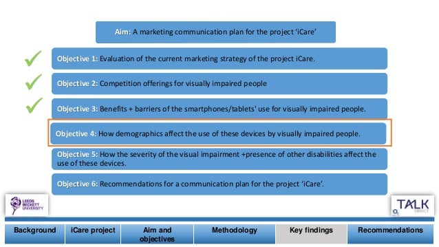 Aim: A marketing communication plan for the project 'iCare' Objective 1: Evaluation of the current marketing strategy of t...