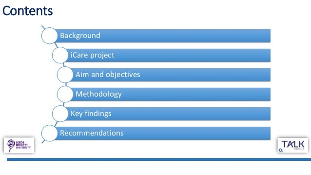 Contents Background iCare project Aim and objectives Methodology Key findings Recommendations