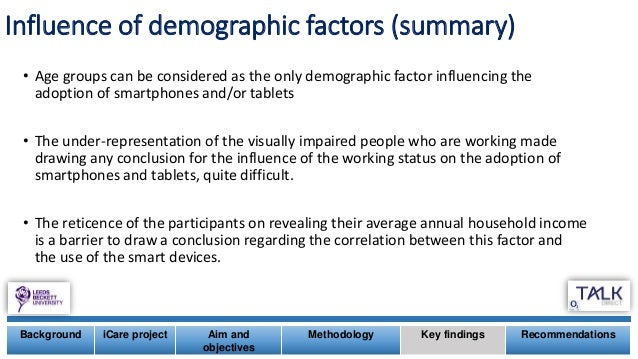 Background iCare project Aim and objectives Methodology Key findings Recommendations Influence of demographic factors (sum...
