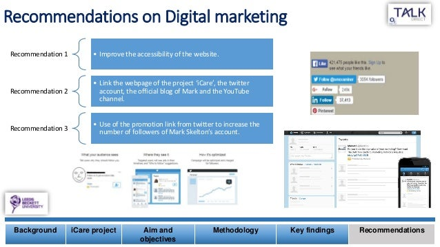 Recommendations on Digital marketing Background iCare project Aim and objectives Methodology Key findings Recommendations ...