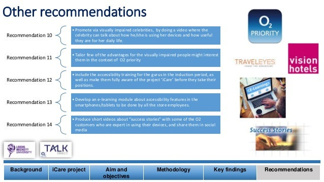 Other recommendations Background iCare project Aim and objectives Methodology Key findings Recommendations Recommendation ...