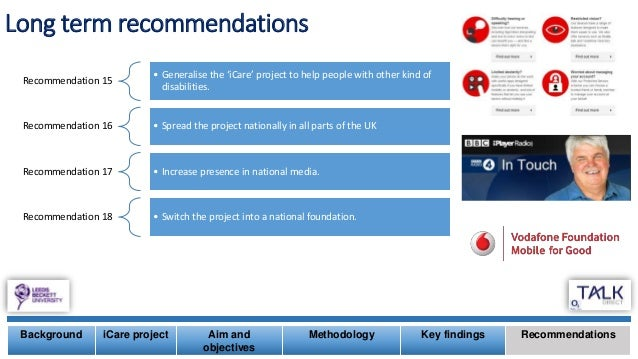 Long term recommendations Background iCare project Aim and objectives Methodology Key findings Recommendations Recommendat...