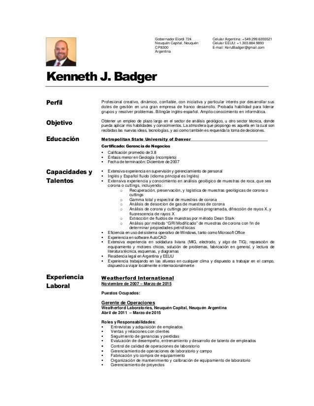 kenneth badger cv español
