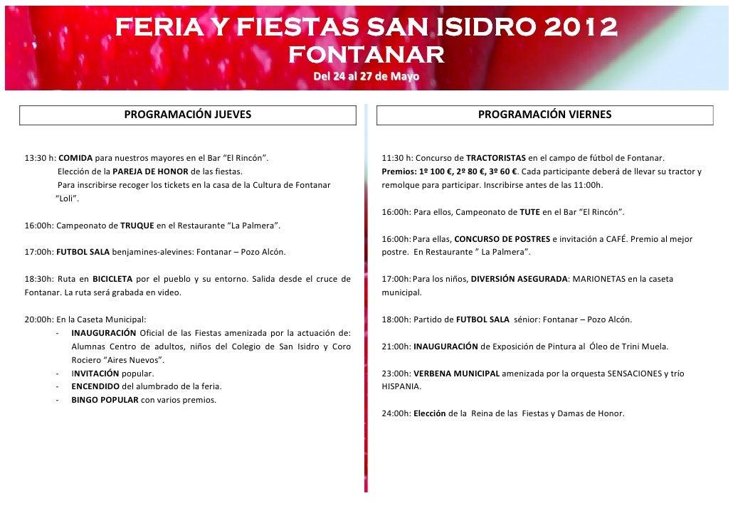 FERIA Y FIESTAS SAN ISIDRO 2012                                                                      FONTANAR             ...