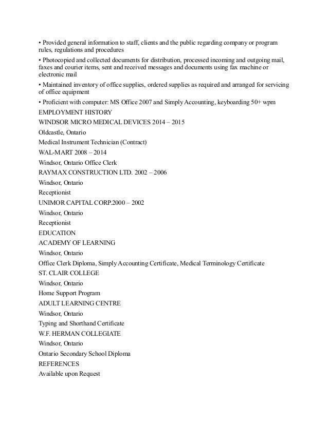 Computer Assisted Ordering Clerk Resume