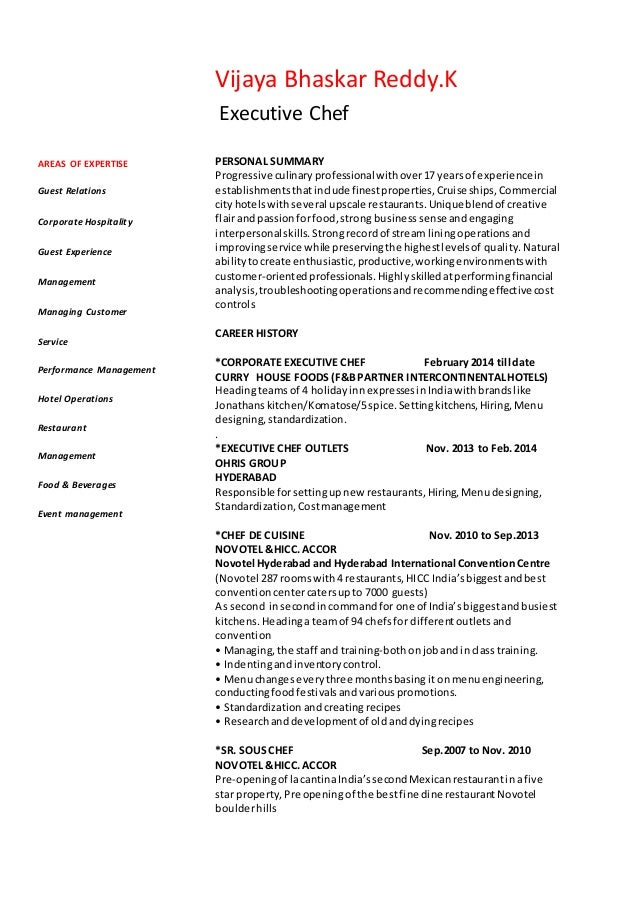 chef vijay resume