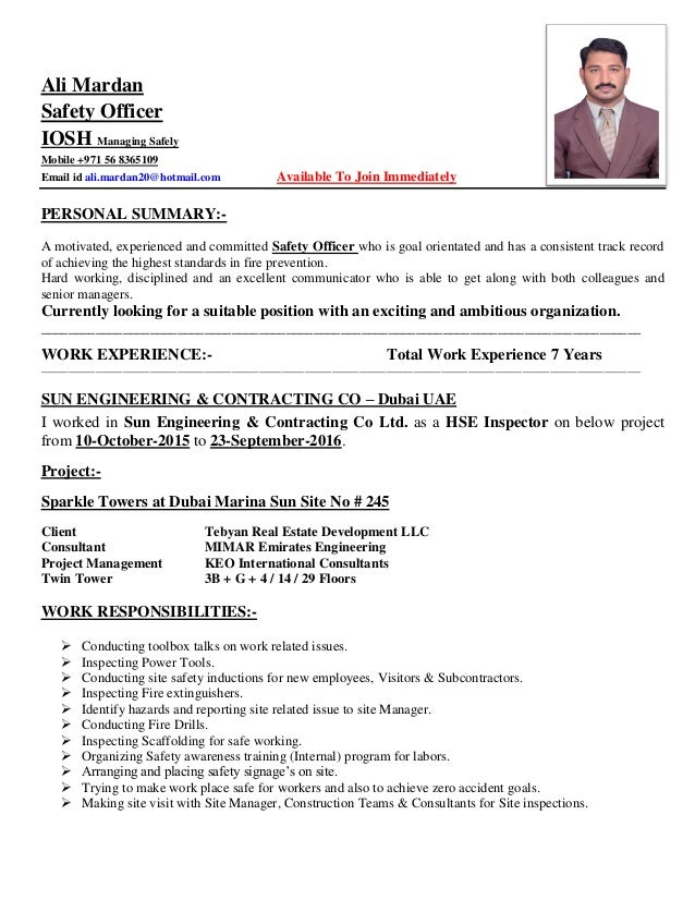 safety officer cv