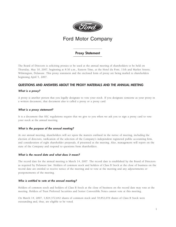 Ford 2007 proxy statement for Ford motor company incentives