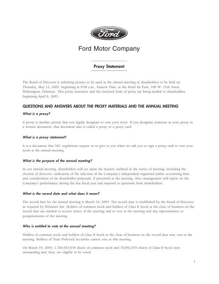 Ford 2005 Proxy Statement