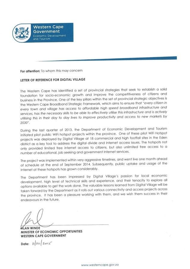 Reference Letter for Digital Village