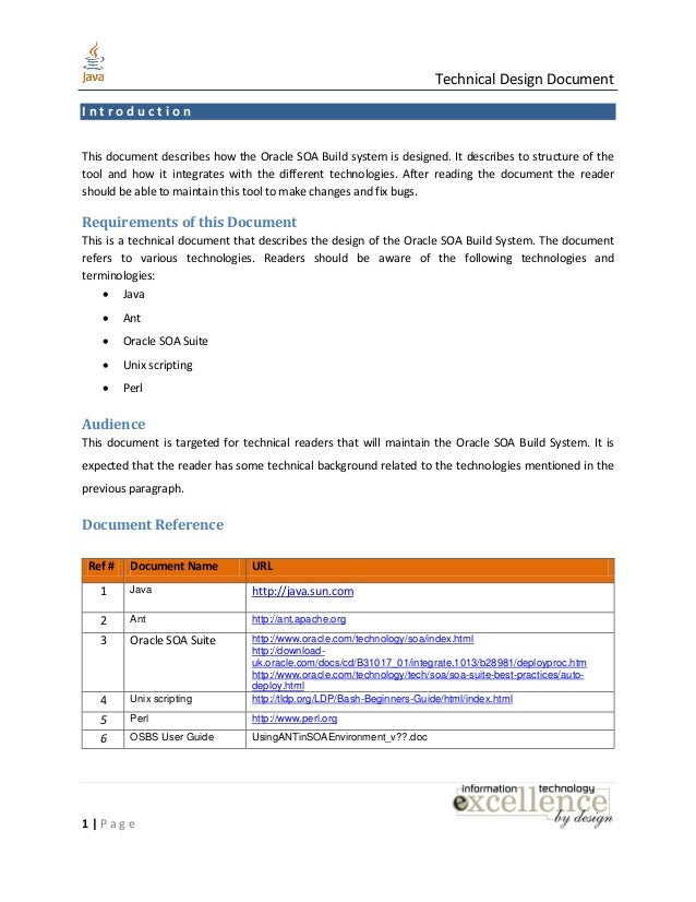 java design document template - detailed technical design document template choice image
