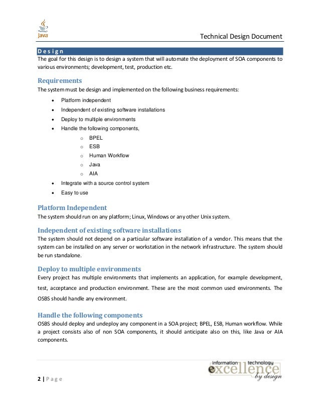 java design document template java technical design document