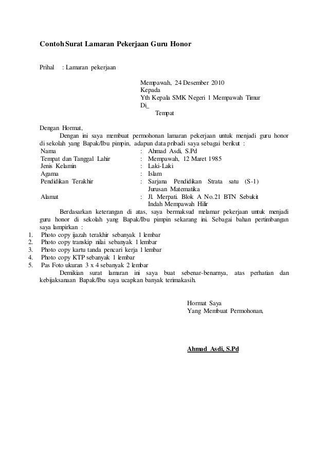 94631906 Contoh Surat Lamaran Pekerjaan Guru Honor