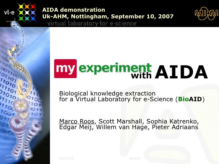 with  AIDA   Biological knowledge extraction for a Virtual Laboratory for e-Science ( Bio AID ) Marco Roos , Scott Marsh...