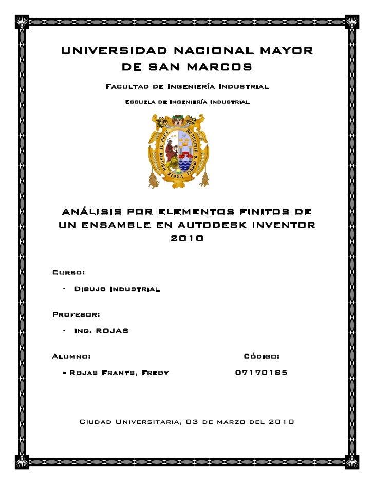 UNIVERSIDAD NACIONAL MAYOR       DE SAN MARCOS            Facultad de Ingeniería Industrial               Escuela de Ingen...