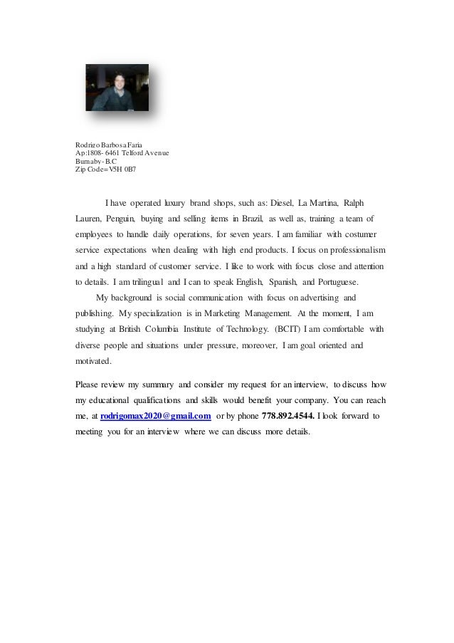 Cover letter and resume by Rodrigo Barbosa