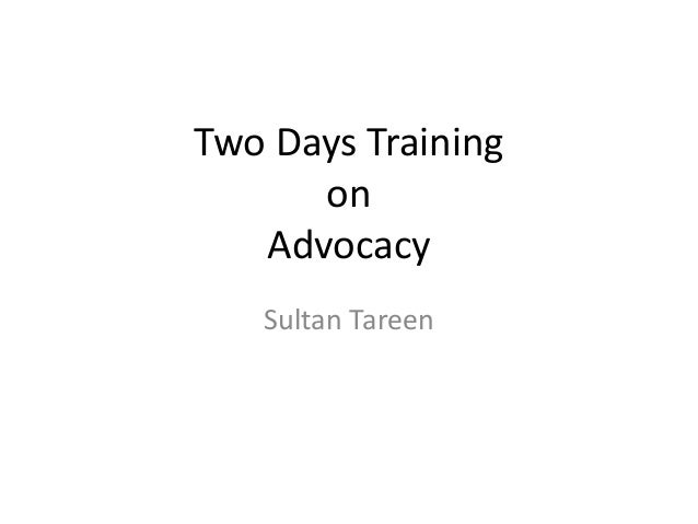 Two Days Training on Advocacy Sultan Tareen