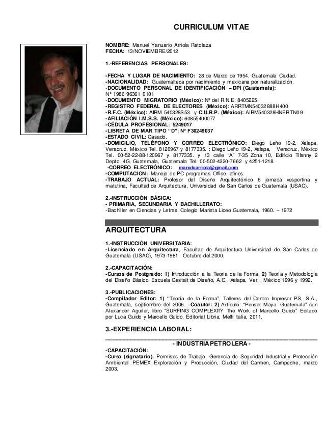 CURRICULUM VITAE MEXICAPLASTE 1 Manuel Y. Arriola R.